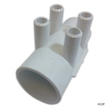 "Waterway | MANIFOLD | 4-PORT FLO-THRU 2"" SLIP X 2"" SPIGOT X 3/4"" SMOOTH BARB 