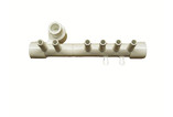 "Waterway | MANIFOLD | 6-PORT FLO-THRU 1/2"" SLIP X 1/2"" SLIP WITH PLUG X .375 SMOOTH BARB WITH 2 PLUGS 
