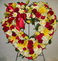 Red Yellow and White Floral Heart