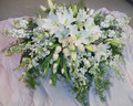 Clustered White Casket Spray