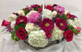 Low Pink and White Basket