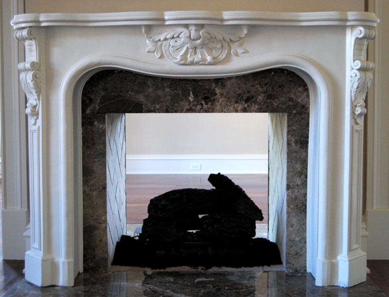 Cast Plaster Fireplace Mantel featuring acanthus leaves