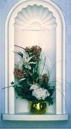 Wall Niches Designs wall niche used stone tile from the tile shop and framed the back wall of Favorite Floral Niche N5