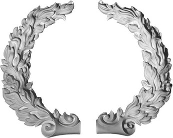 Decorative Acanthus Leaf Peace Wreath, Cast Plaster Right and Left Sections - Applique CRA102