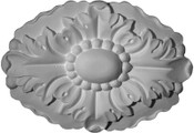 """6 3/4 x 5"""" Rosette featuring acanthus leaf and beads in an oval shape"""