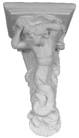 Decoratively ornamented corbel with a mermaid - like man and the sea