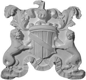 Acanthus Eagle, lions , and a ribbon  are featured on this cast plaster coat of arms or shield
