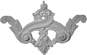 Applique with acanthus leaves and scrolls, a floral fleur de lis in cast plaster - Applique CRA119
