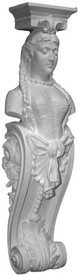 "48"" Tall decoratively ornamented corbel bracket featuring Lady Rebecca and acanthus leaves"