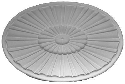 Oval cast plaster applique featuring concentric sunbursts