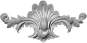 Applique CRA99. Plaster Applique featuring Acanthus Leaves, Scroll and Center Shell Shield or Emblem
