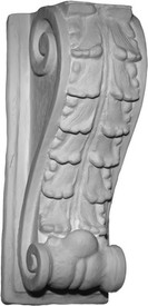 "A classic corbel bracket, medium large, featuring layered acanthus leaves. 16""H x 6 1/2""W x 6""D"