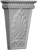A classic corbel bracket, medium, featuring a stylized acanthus leaf emblem