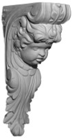 Decoratively ornamented corbel with the face of a cherub