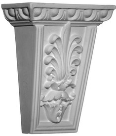 A classic corbel bracket, small size, featuring a stylized acanthus leaf emblem