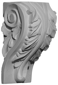 A classic corbel bracket style featuring a large acanthus leaf and side scrolls