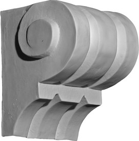 Classic grooved corbel bracket with scrolling at the top