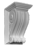 Classic grooved corbel bracket with scrolling bottom edge