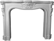 "MT1002S, the smaller of two version of the same style cast stone mantel.  64"" shelf length"