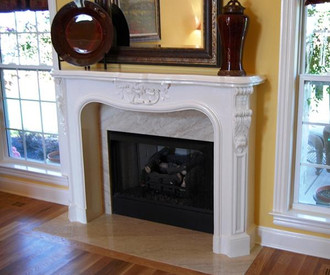 Cast stone mantel, painted a beautiful crisp white by the homeowner.  MT1002S