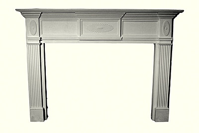 Decorative Cast Stone Mantel - Sunburst emblems