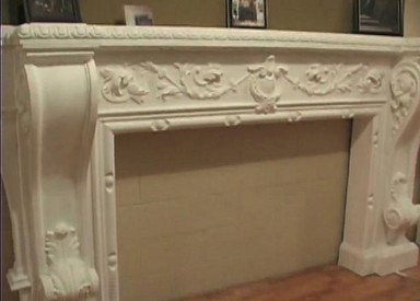 Decorative Cast Stone Mantel with acanthus leaves and vines (shown with standard B55 Corbel Brackets)