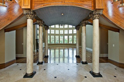 Installed Corinthian Capitals - Acanthus Leaves and Large Volutes - fits round column