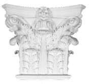 This cast column capital features acanthus leaves and small top volutes - rectangular