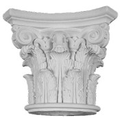 This cast column capital features acanthus leaves and small top volutes
