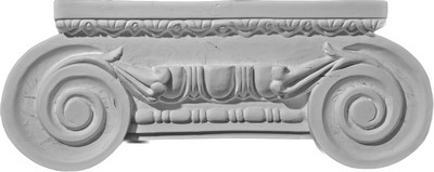 Cast capital with large volutes and detailed decoration