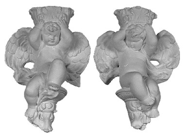 Set of two Cherub Brackets in cast plaster.  Decorative ornamentation