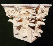 Ornate acanthus leaf cast gypsum capital