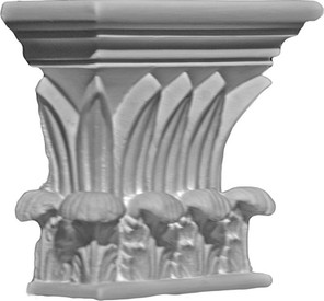 Temple of Winds cast plaster capital featuring pointed leaves and acanthus leaves.  Rectangular