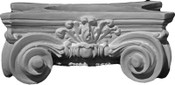 """12"""" x 2"""" wide round capital, featuring small acanthus leaves, and larger corner volutes. Scamozzi"""