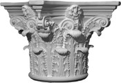 This round cast column capital features acanthus leaves and small top volutes