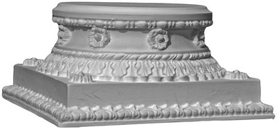 This round cast capital features small leaves, flowers and decorative detail edge moldings