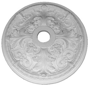 "21 1/2"" ceiling medallion featuring acanthus leaves and honeysuckle vines"