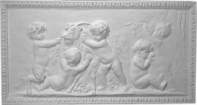 Cast Plaster Panel/Accessory A204 features several cherubs