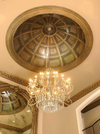 Coffered D10 Ceiling Dome with beautiful crystal chandelier