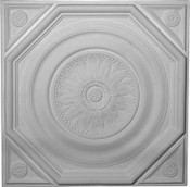 Radiating Leaves, octagonal trim within a square ceiling tile