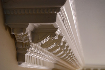 Decorative Crown Molding DM721.  Acanthus Leaves, Egg and Dart Molding, miniature corbels