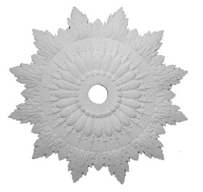 Elaborate and pointed Acanthus leaf details surrounding a central starburst.  Beaded center