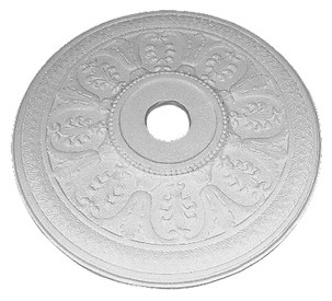 Stylized acanthus leaves are featured on this ornate, beaded center ring ceiling medallion