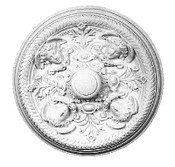 Angels in the Round, alternating with Acanthus Leaves are featured in this medallion