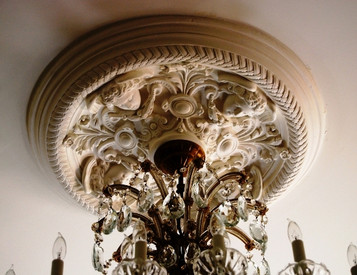 The beautiful Angels in the Round ceiling medallion is exquisitely detailed