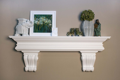 Visit www.DesignTheSpace.com to shop for the Mantel Shelf using two B10 Corbels.  Painted White