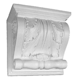 "This 15"" x 15"" corbel bracket features an acanthus leaf motif"