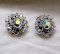 Vintage Aurora Borealis Crystal Clip Earrings
