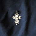 14k gold filligree cross with diamond