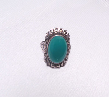 Vintage signed Art Deco Sterling Chrysoprase and Marcasite Ring